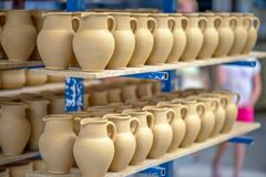 Ceramic dishware in pottery workshop Stock Photos