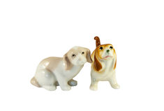 Ceramic dogs figurines stock photography