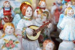 Ceramic doll angel mandolin Stock Photos