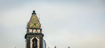 Ceramic dome Church Naples. Colourful ceramic dome on a Church in Naples Italy stock images