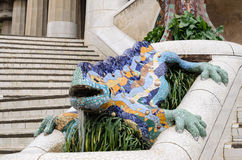 Ceramic dragon fountain in Parc Guell - park city designed by Antoni Gaudi. Royalty Free Stock Photos