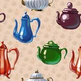 Ceramic drawn teapot. Ceramic kitchen drawn teapot symbol breakfast art vector illustration