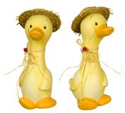 Ceramic duck farmer. Two shots of the same duck farmer Royalty Free Stock Photo
