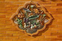 Ceramic Ducks Decoration Yellow Wall Beijing Stock Photo