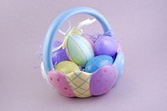 Ceramic Easter Basket with Eggs Stock Images