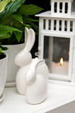 Ceramic Easter bunnies still life Royalty Free Stock Photo