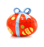 Ceramic easter egg souvenir with bow isolated Royalty Free Stock Photography