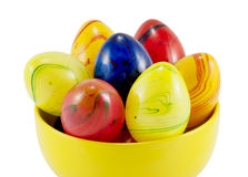 Ceramic easter eggs in the yellow bowl Royalty Free Stock Image