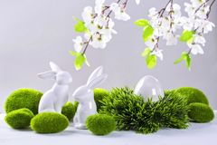 Ceramic easter rabbits and egg stock photography