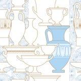 Ceramic Ethnic national Greek style seamless pattern. Ceramic seamless pattern. Ethnic national Greek style background Royalty Free Stock Photo