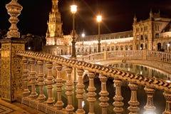 Ceramic fence. Spanish Square (Plaza de Espana) in Sevilla at ni. Spanish Square (Plaza de Espana) in Sevilla at night Stock Photo