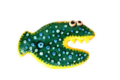 Ceramic fish. Ceramic figure of fish with the coloured glaze Stock Image