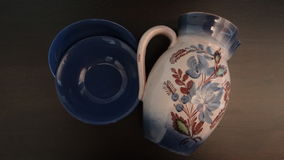 Ceramic flagon and platters Stock Images