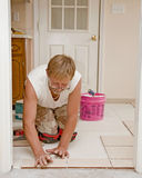 Ceramic Floor Installer Royalty Free Stock Images