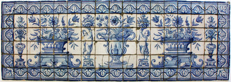 Ceramic floral tile pattern. A beautiful ceramic tile pattern in blue and white royalty free stock photography