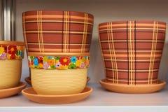 Ceramic flower pots Stock Photography