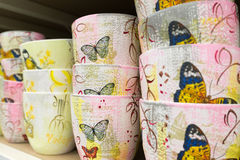 Ceramic flower pots at the shop Stock Images