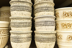 Ceramic flower pots at the shop Royalty Free Stock Photography