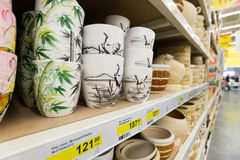 Ceramic flower pots at the shop Stock Photos