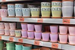 Ceramic flower pots shop Stock Photos