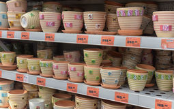 Ceramic flower pots shop Royalty Free Stock Photo