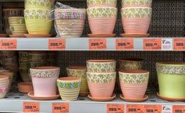 Ceramic flower pots shop Stock Image