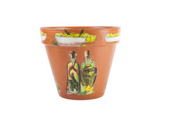 Ceramic flowerpots with drawings isolated on white background Royalty Free Stock Image