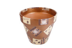 Ceramic flowerpots with drawings isolated on white background Stock Photo
