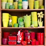 Ceramic flowerpots in the florist store Stock Photos