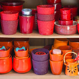 Ceramic flowerpots in the florist store Royalty Free Stock Photos