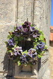 Ceramic flowers funeral wreath Royalty Free Stock Photo