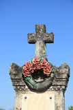 Ceramic flowers funeral wreath. Funeral wreath with ceramic flowers at a French cemetery stock image