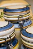 Ceramic food jars. Closeup Stock Photos