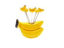 Ceramic Fork Stand. A yellow banana shaped ceramic fork stand Royalty Free Stock Photos