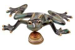 Ceramic frog and coins Royalty Free Stock Image