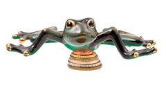Ceramic frog and coins Stock Image