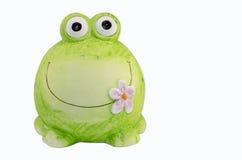 Ceramic frog. Ceramic piggy frog made hands Stock Photos