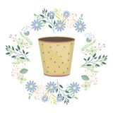 Ceramic garden pot dotted with flowers wreath. Vector illustration design stock illustration