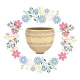 Ceramic garden pot with flowers crown decorative. Vector illustration design royalty free illustration