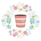 Ceramic garden pot striped with flowers wreath. Vector illustration design royalty free illustration