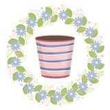 Ceramic garden pot striped with flowers wreath. Vector illustration design vector illustration