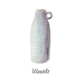 Ceramic, glass jar, vase, watercolor illustration on white Kitchen Utensils series Royalty Free Stock Photography