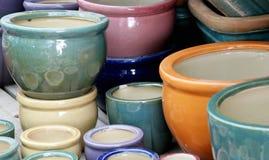 Ceramic  graden's pots. Ceramic pots in outdoor pile Royalty Free Stock Photos