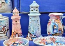 Ceramic Greek vases. Colored ceramic vases in Mykonos, Greece royalty free stock photography