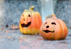 Ceramic halloween pumpkins Royalty Free Stock Photos