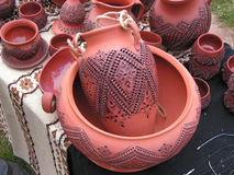Ceramic handmade. On the artistic market in Kiev royalty free stock photography