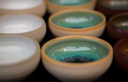 Ceramic handmade bowls for sale at handicraft market stock photography