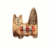 Ceramic handmade cat Stock Photography