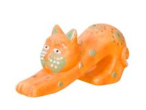 Ceramic handmade kitty Royalty Free Stock Images