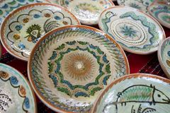 Ceramic handmade pottery at Horezu Stock Photos